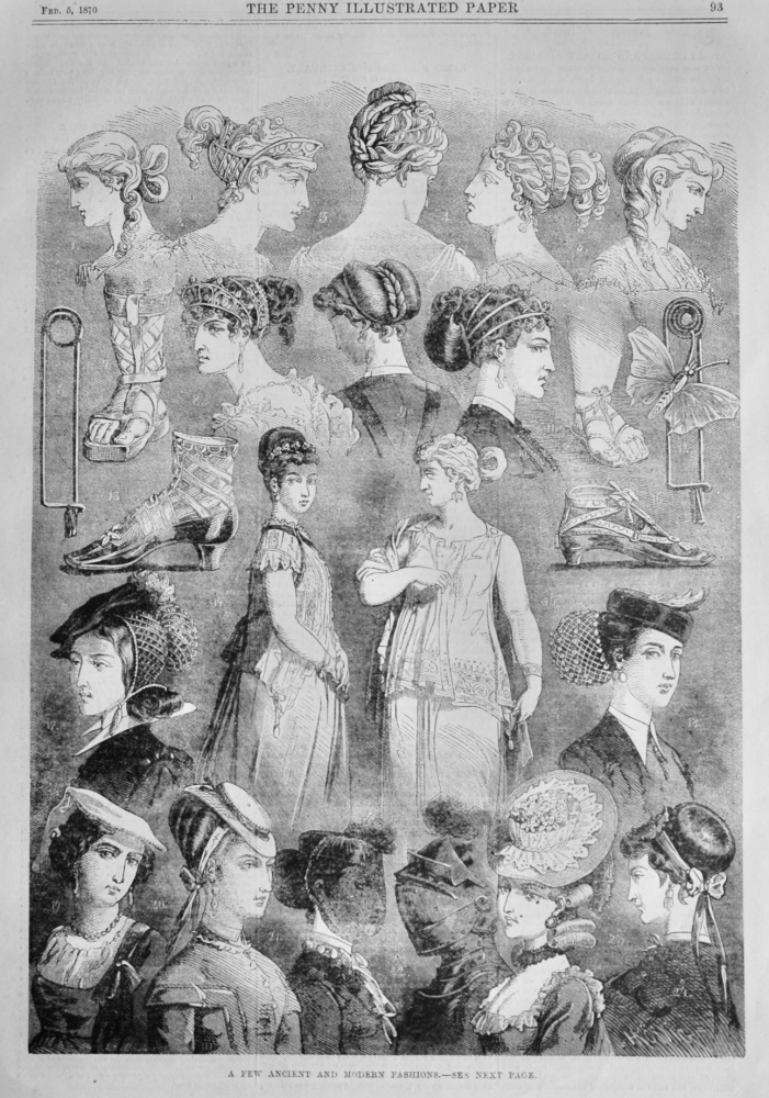 A Few Ancient and Modern Fashions.  1870.
