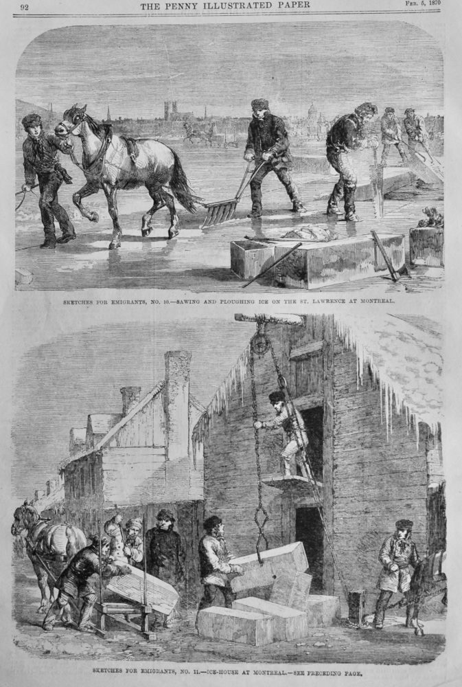 Sketches for Emigrants. :  Sawing and Ploughing Ice on the St. Lawrence at Montreal.  1870.