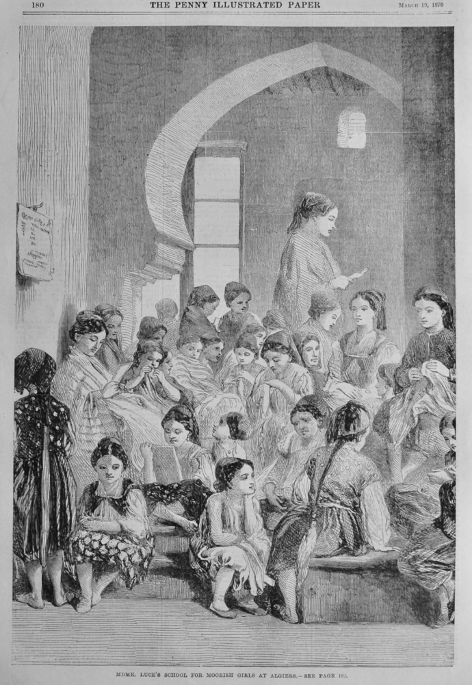 Mdme. Luce's School for Moorish Girls at Algiers.  1870.