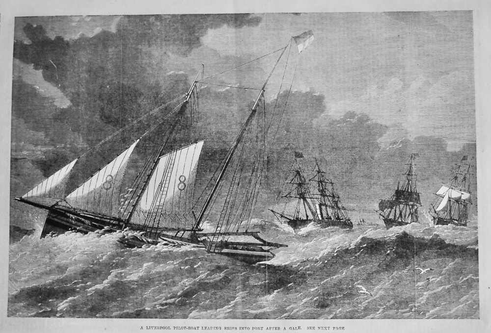 A Liverpool Pilot-Boat Leading Ships into Port after a Gale.  1870.