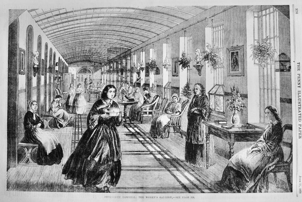 Bethlehem Hospital :  The Women's Gallery.  1870.