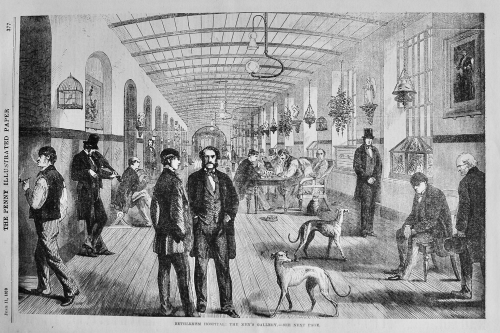 Bethlehem Hospital :  The Men's Gallery.  1870.