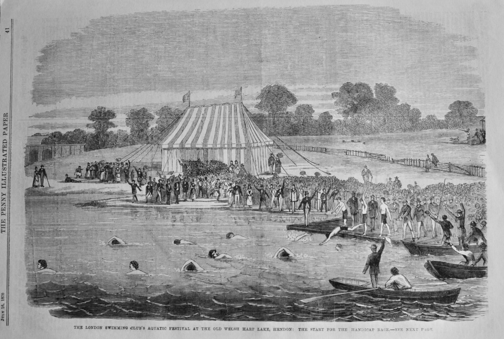 The London Swimming Club's Aquatic Festival at the Old Welsh Harp Lake, Hendon :  The Start for the Handicap Race.  1870.