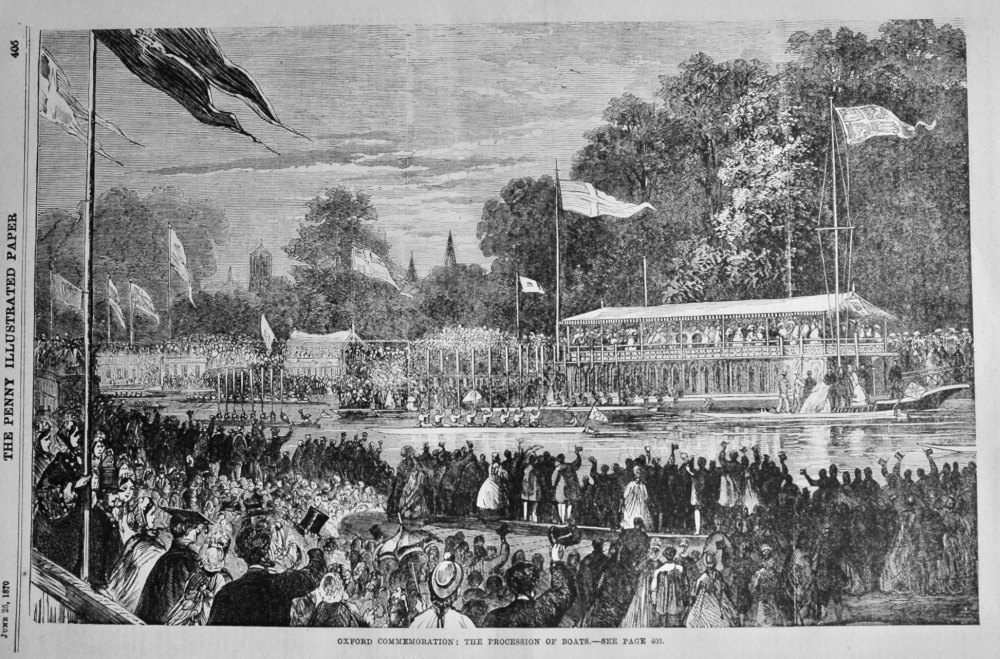 Oxford Commemoration :  The Procession of Boats.  1870.