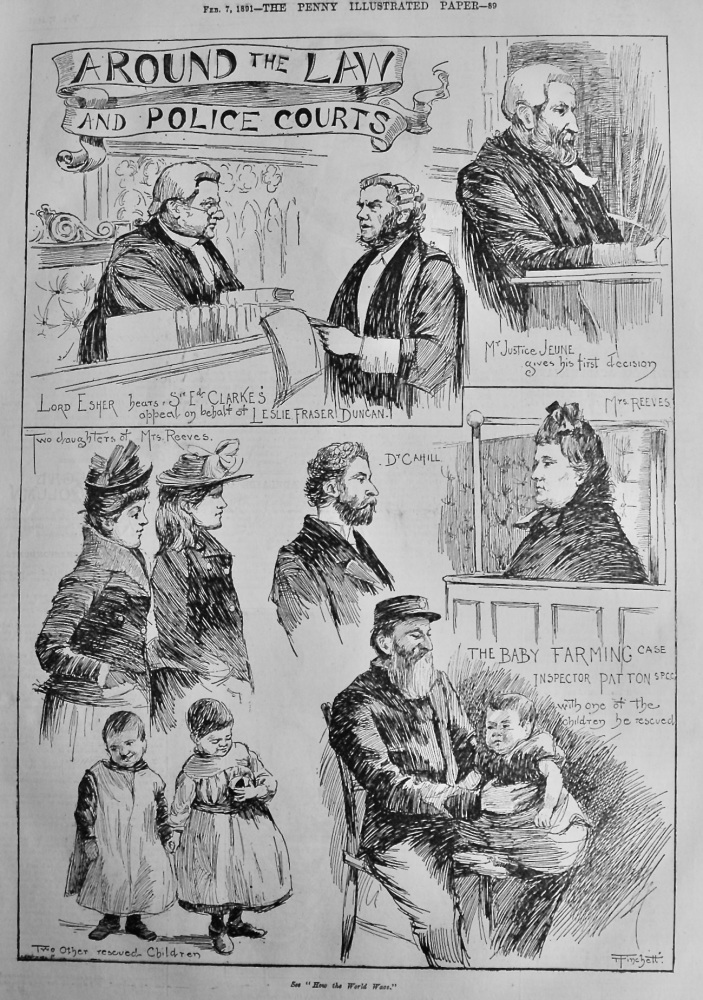 Around the Law and Police Courts.   Feb. 1891.