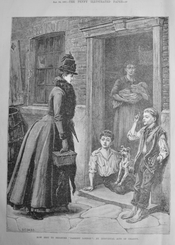 """How Best to Brighten """"Darkest London"""" :  by Individual Acts of Charity.  1891."""
