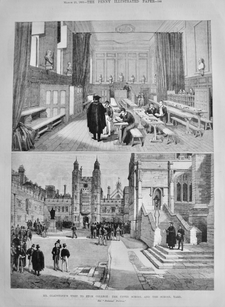 Mr. Gladstone's Visit to Eton College :  The Upper School and the School Yard.  1891.