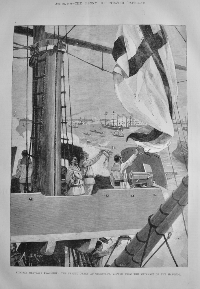 Admiral Gervais's Flag-Ship :  The French Fleet at Cronstadt, Viewed from the Mainmast of the Marengo.  1891.