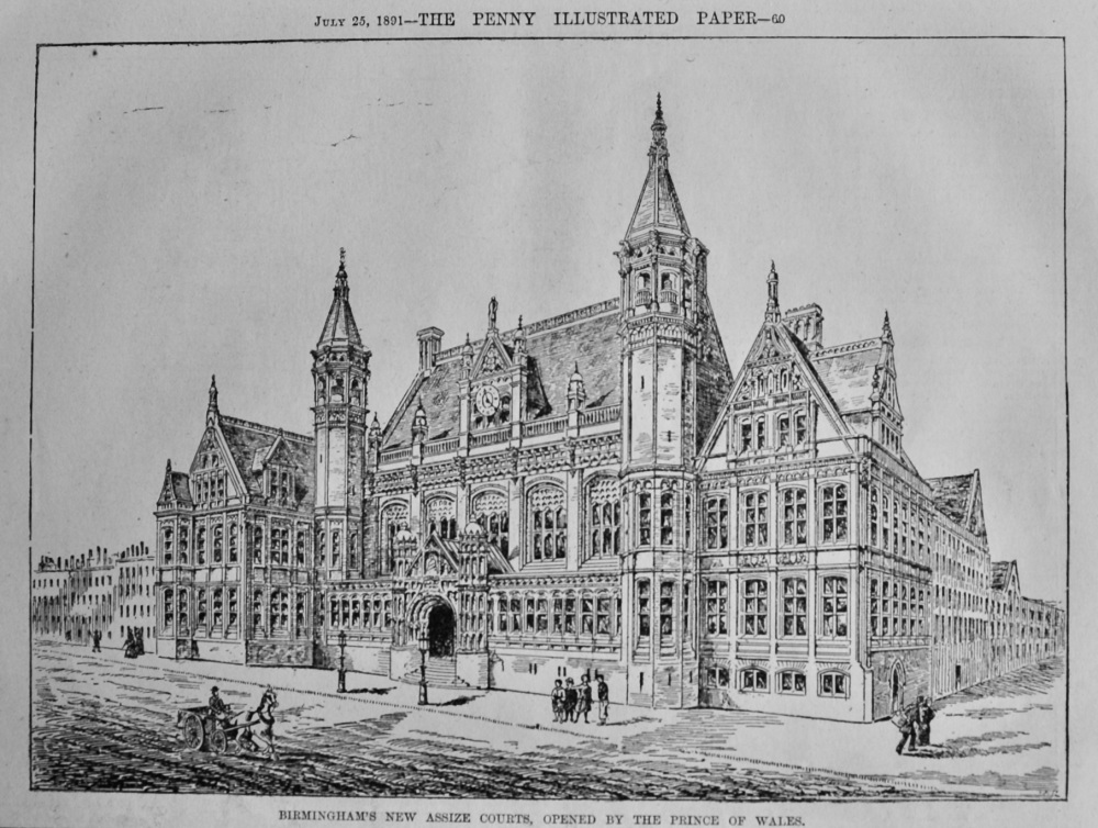 Birmingham's New Assize Courts, Opened by the Prince of Wales.  1891.