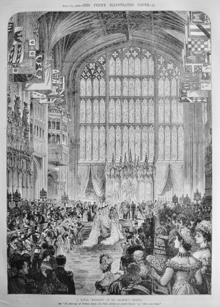 A Royal Wedding in St. George's Chapel.  1891.