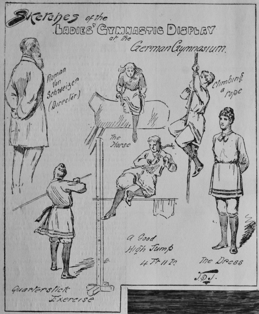 Sketches of the Ladies' Gymnastic Display at the German Gymnasium.  1891.
