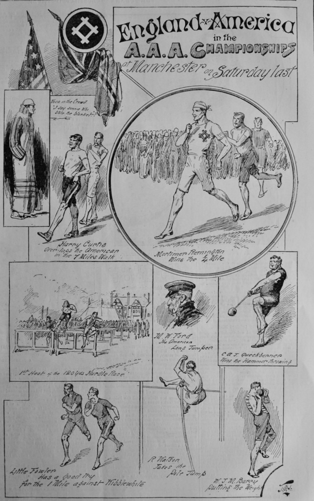 England v. America in the A.A.A. Championship at Manchester on Saturday Last.  1891.