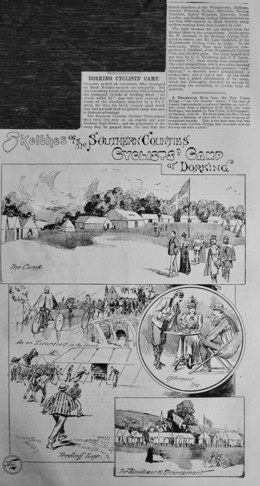 Sketches of the Southern Counties Cyclists' Camp at Dorking.  1891.