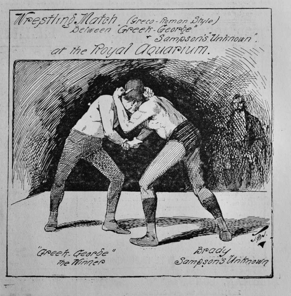 """Wrestling Match (Greco-Roman Style) between """"Greek-George"""" & Sampson's """"Unknown"""". at the Royal Aquarium.  1891."""