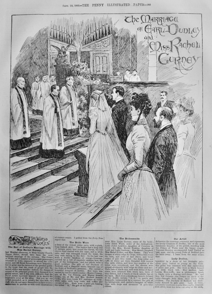 The Marriage of Earl Dudley and Miss Rachel Gurney.  1891.