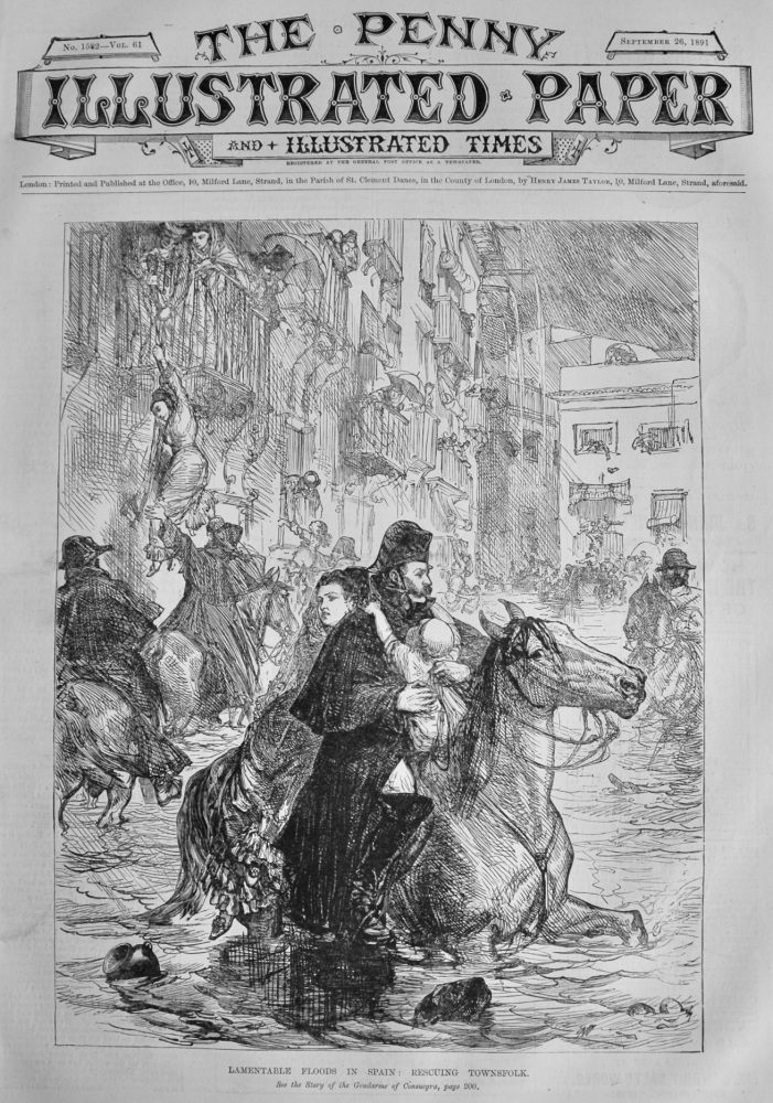 Lamentable Floods in Spain :  Rescuing Townsfolk.  1891.