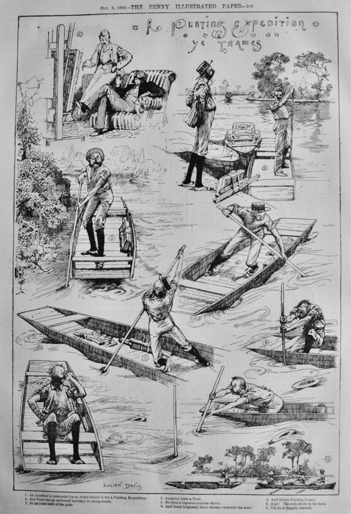 A Punting Expedition on ye Thames.  1891.