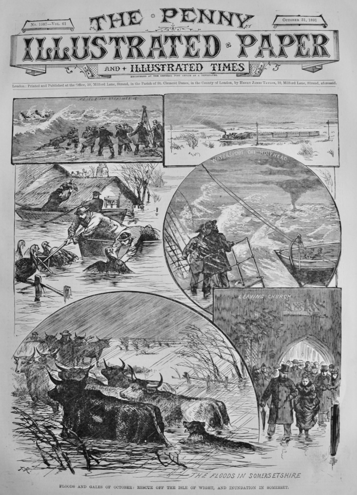Floods and Gales of October :  Rescue off the Isle of Wight, and Inundation in Somerset.  1891.