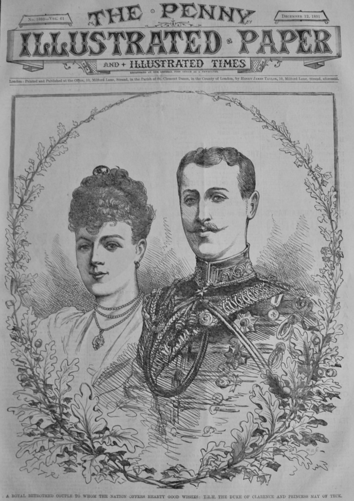 A Royal Couple to whom the Nation offers Hearty Good Wishes :  T.R.H. The Duke of Clarence and Princess May of Teck.  1891.