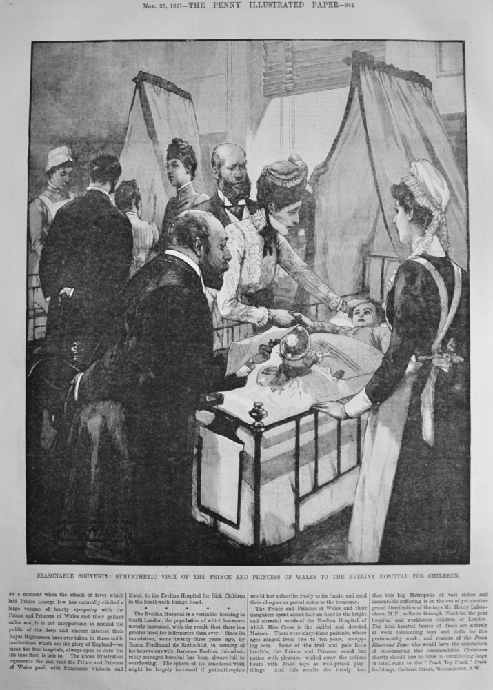 Seasonable Souvenir :  Sympathetic Visit of the Prince and Princess of Wales to the Evelina Hospital for Children.  1891.