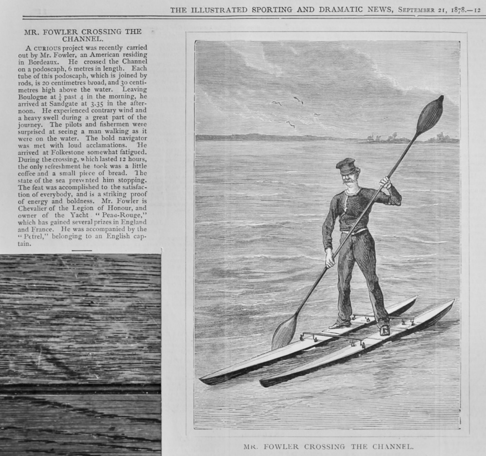 Mr. Fowler Crossing the channel.  1878.