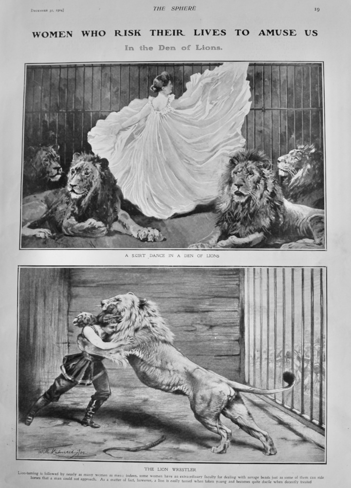 Women who risk their Lives to Amuse us. : In the Den of Lions.  1904.