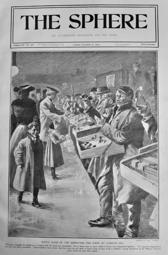Santa Claus of the Kerbstone- The Scene at Ludgate Hill.  1904.