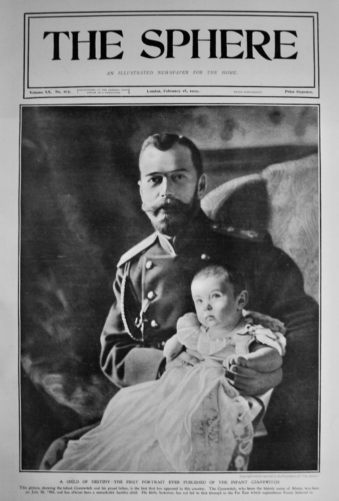 A Child of Destiny - The First Portrait ever Published of the Infant Czarewitch.  1905.