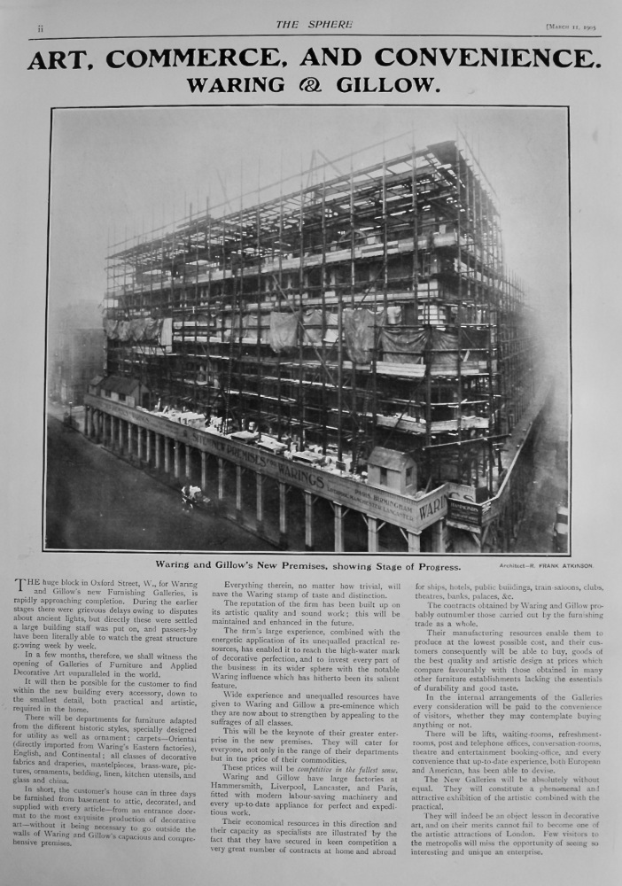 Art, Commerce, and Convenience.  Waring & Gillow. (New Premises)   1905.