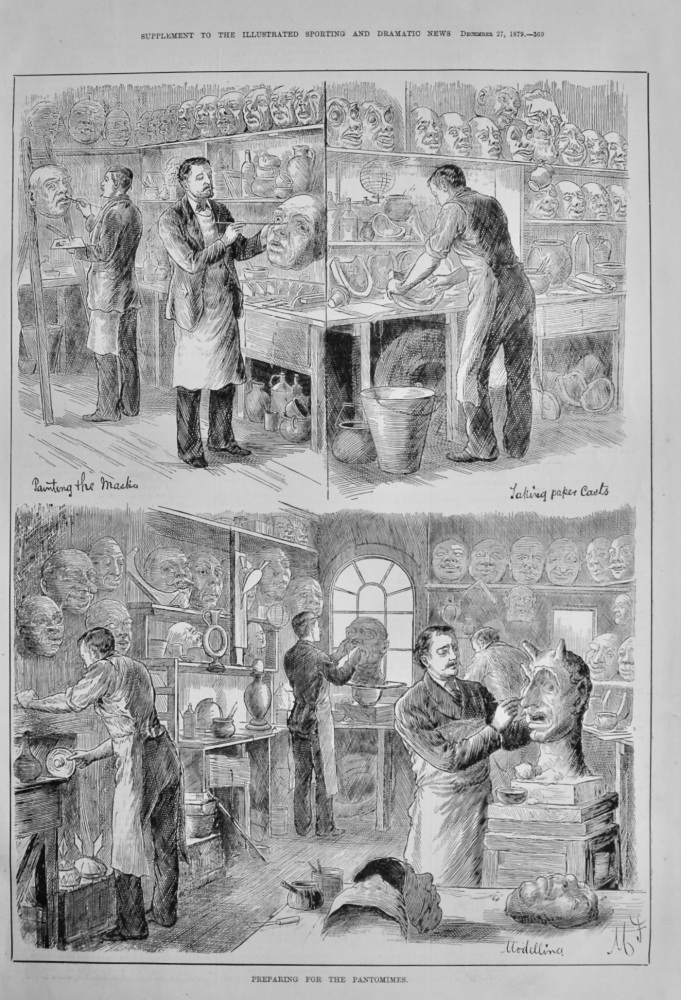 Preparing for the Pantomimes.  1879.