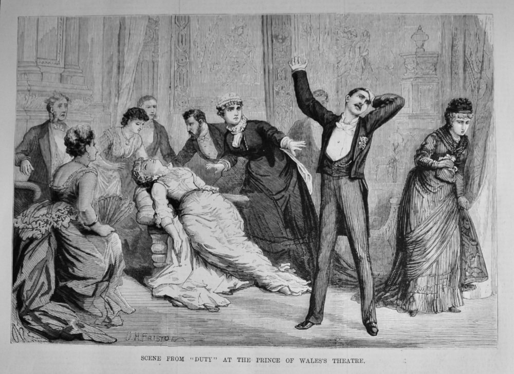 """Scene from """"Duty"""" at the Prince of Wales's Theatre.  1879."""