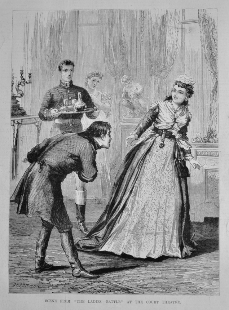 """Scene from """"The Ladies' Battle"""" at the Court Theatre.  1879."""