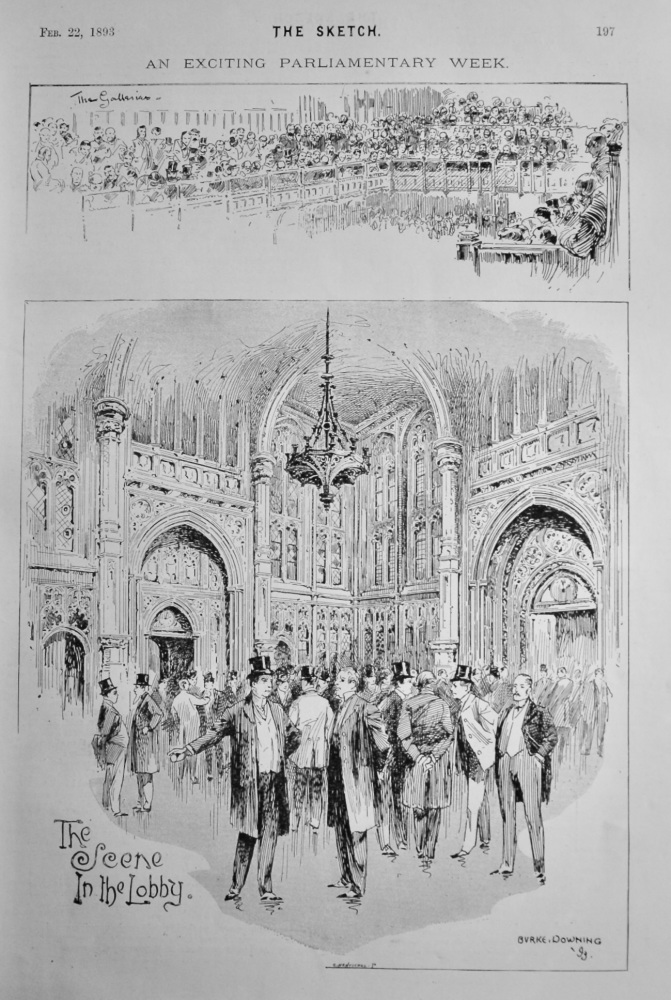 An Exciting Parliamentary Week :  The Scene in the Lobby.  1893.