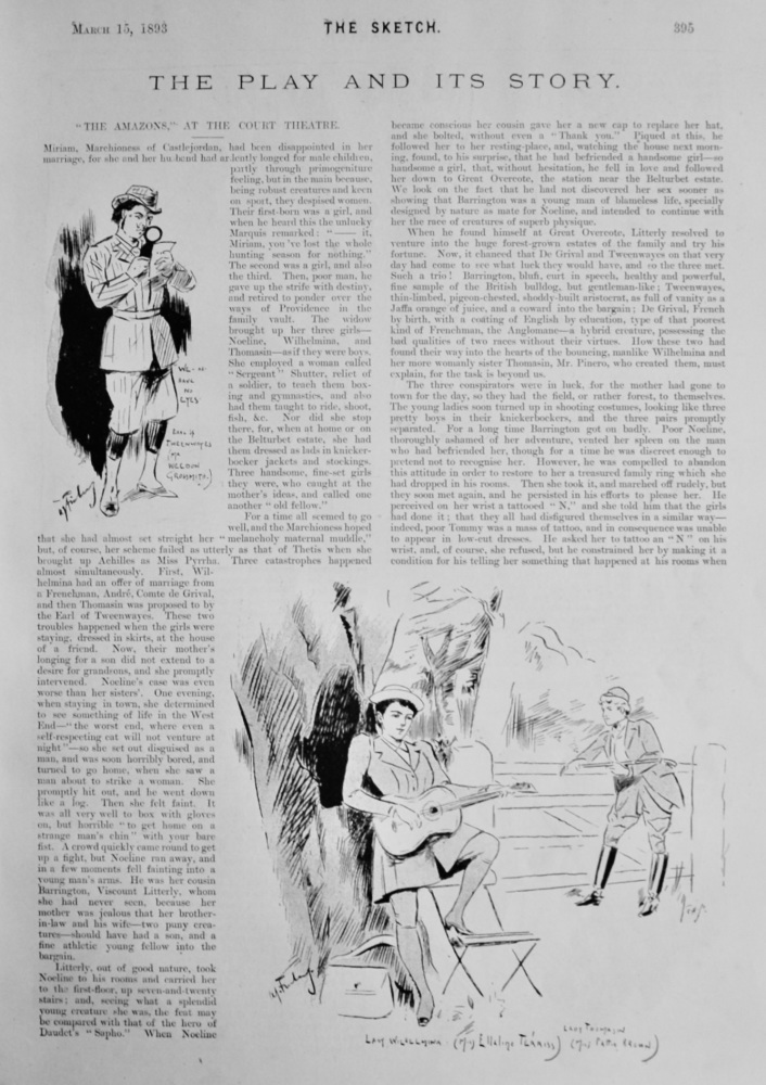 """The Play and Its Story :  """"The Amazons,"""" at the Court Theatre.  1893."""