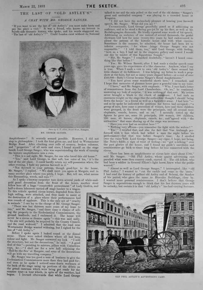 """The Last of """"Old Astley's."""" : A Chat with Mr. George Sanger.  1893."""