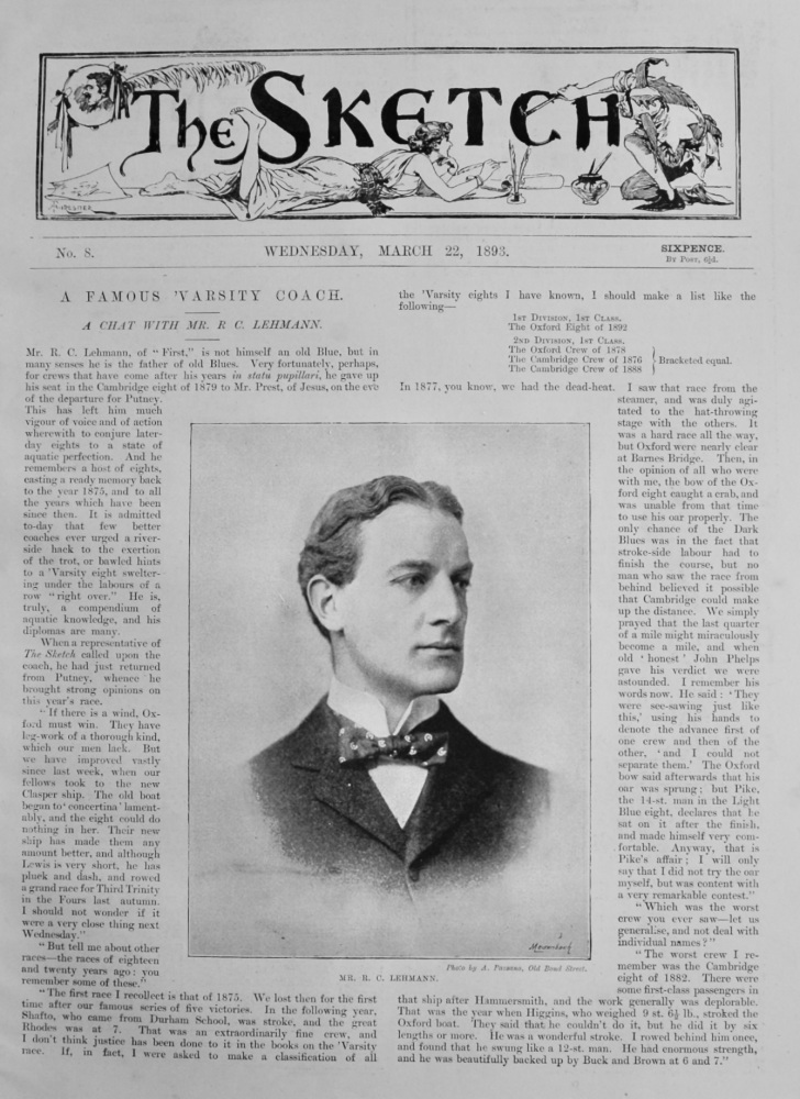 A Famous 'Varsity Coach. A Chat with Mr. R. C. Lehmann.  (Rowing)  1893.