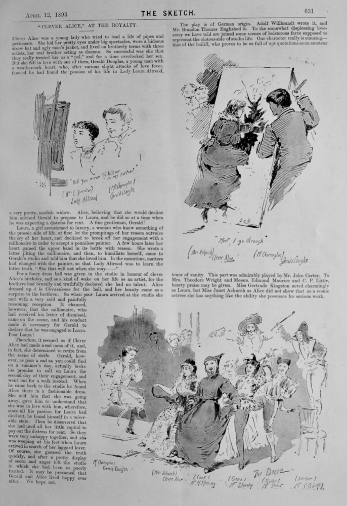 """""""Clever Alice,"""" at the Royalty.  1893."""