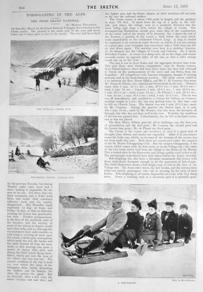 Tobogganing in the Alps :  The Swiss Grand National.  1893.