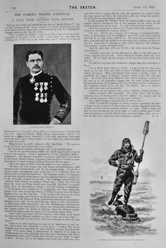 The Coming Water Carnival :  A Talk with Captain Paul Boyton.  1893.