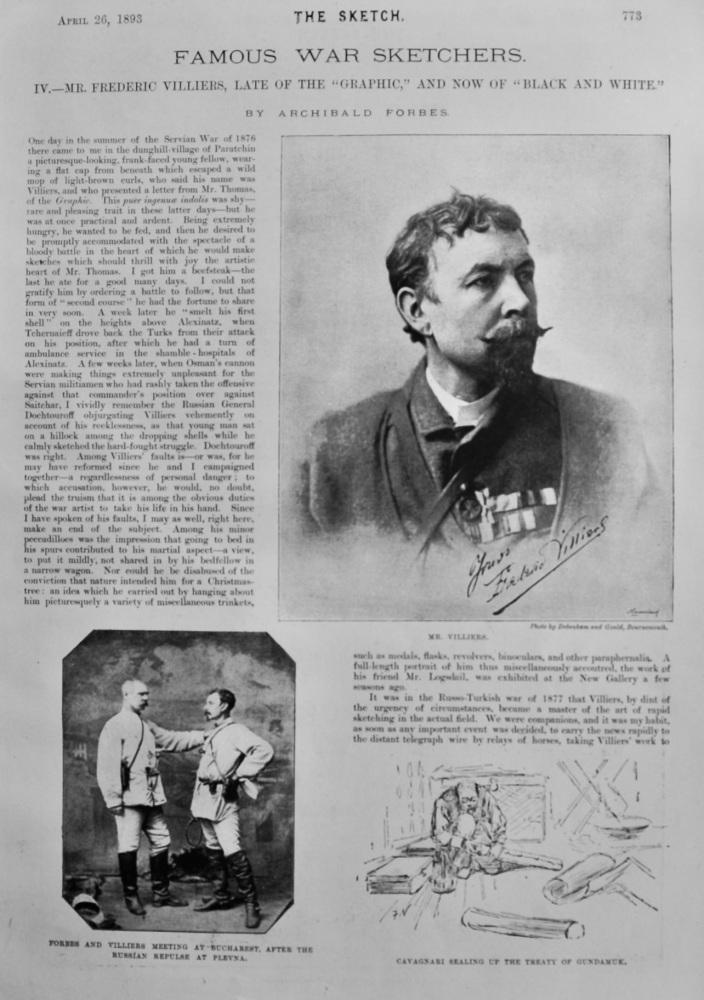 Favourite War Sketchers. :  Mr. Frederick Villiers.  1893.