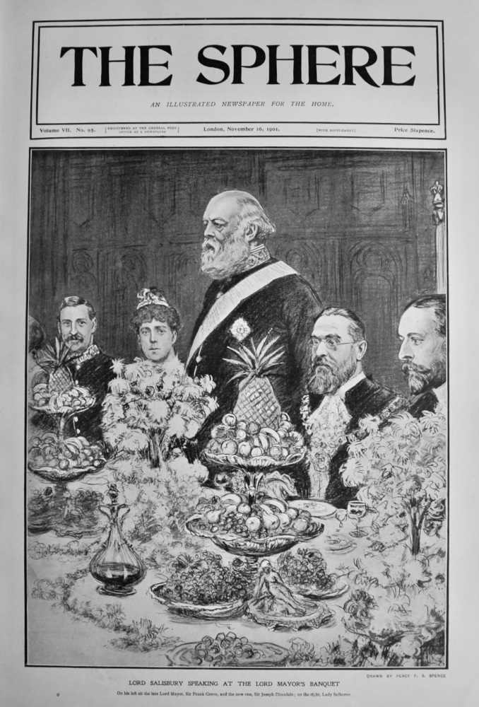 Lord Salisbury Speaking at the Lord Mayor's Banquet.  1901.