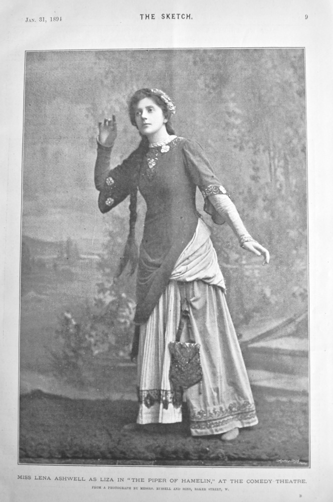 """Miss Lena Ashwell as Liza in """"The Piper of Hamelin,"""" at the Comedy Theatre.  1894."""