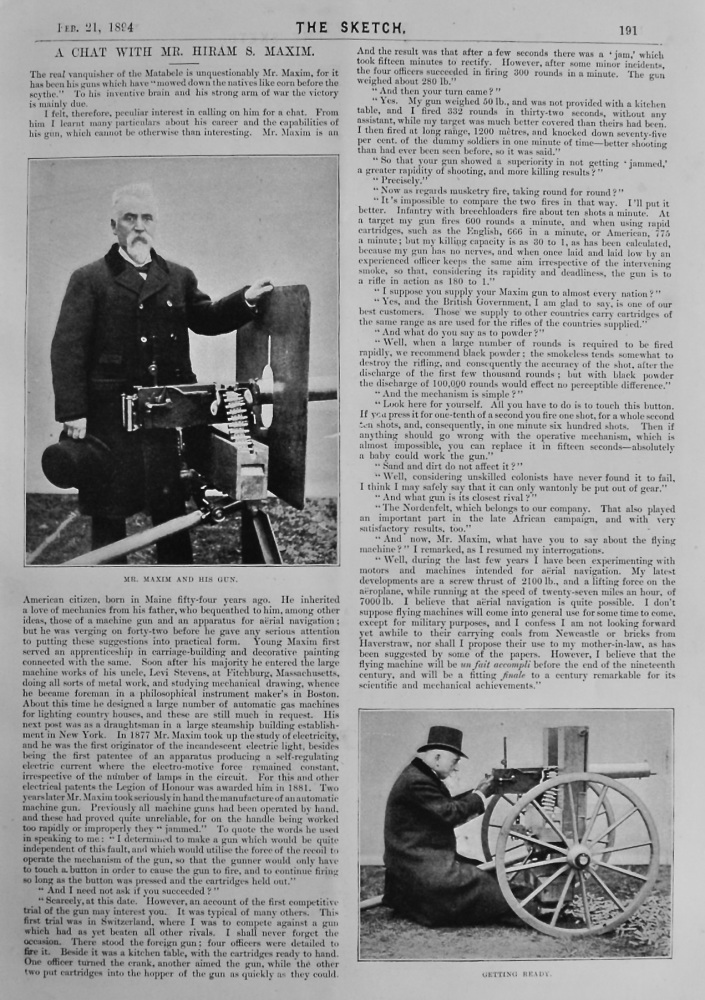 A Chat with Mr. Hiram S. Maxim.  1894.