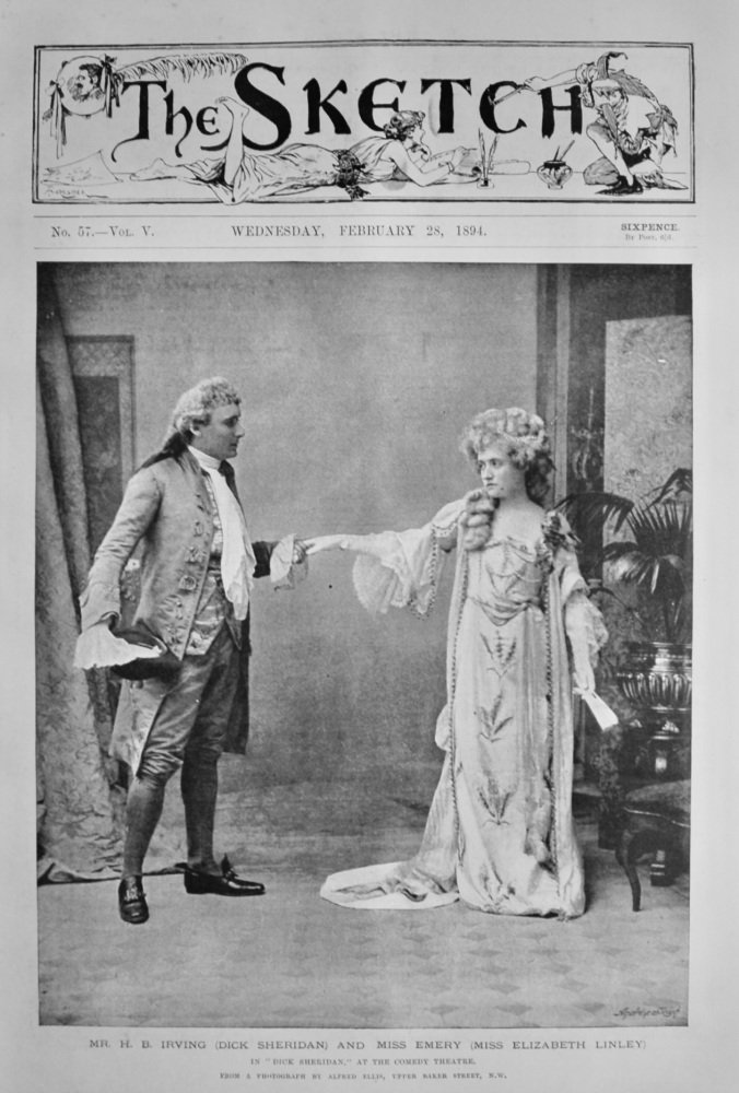 """Mr. H. B. Irving (Dick Sheridan) and Miss Emery (Miss Elizabeth Linley) in """"Dick Sheridan,"""" at the Comedy Theatre.  1894."""