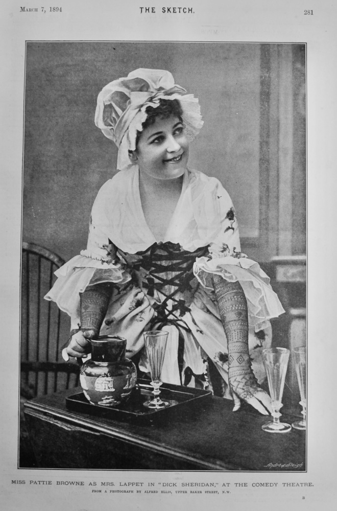"""Miss Pattie Browne as Mrs. Lappet in """"Dick Sheridan,"""" at the Comedy Theatre.  1894."""