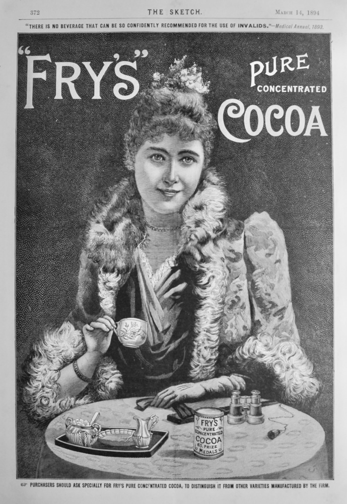 """""""Fry's"""" Pure Concentrated Cocoa.  1894."""