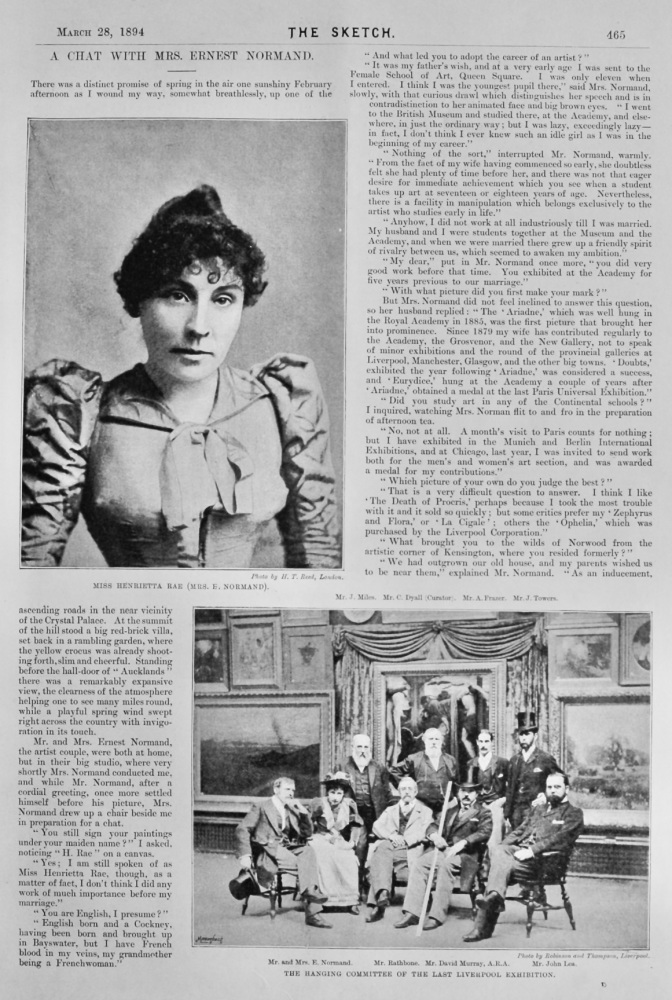 A Chat with Mrs. Ernest Normand.  1894.