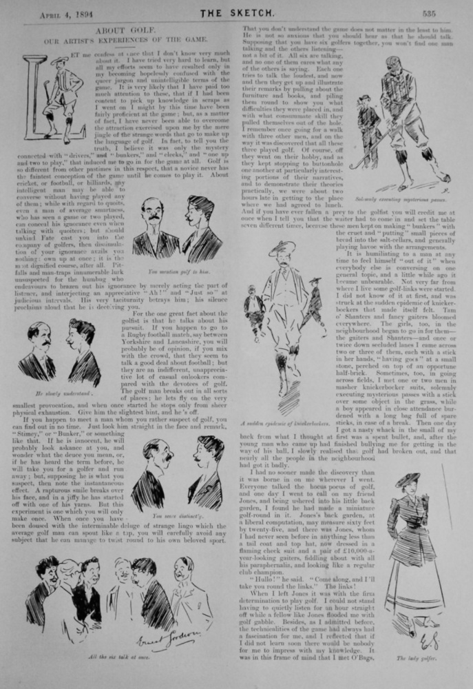 About Golf. :  Our Artist's Experiences of the Game.  1894.