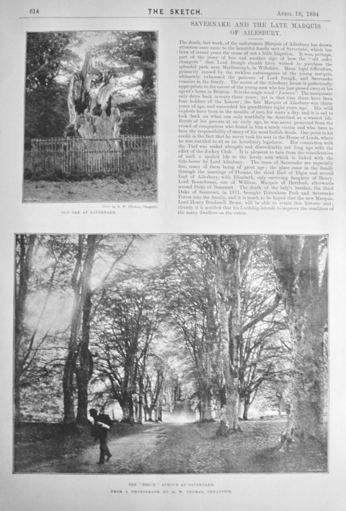 Savernake and the Late Marquis of Ailesbury.  1894.