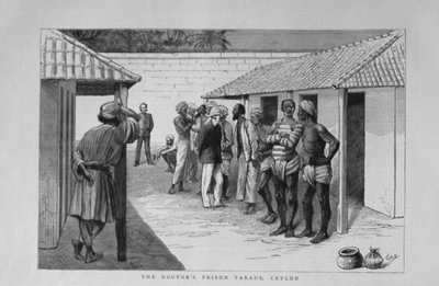 The Doctor's Prison Parade, Ceylon : Doctor Examining the Inmates of a Ceylon Gaol.  1883.